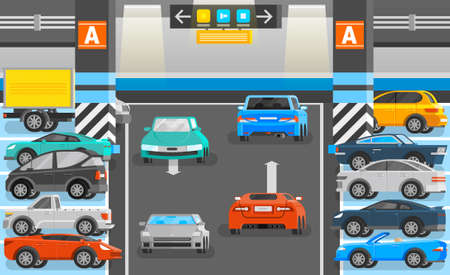 Underground parking with road cars and signs orthogonal flat vector illustration