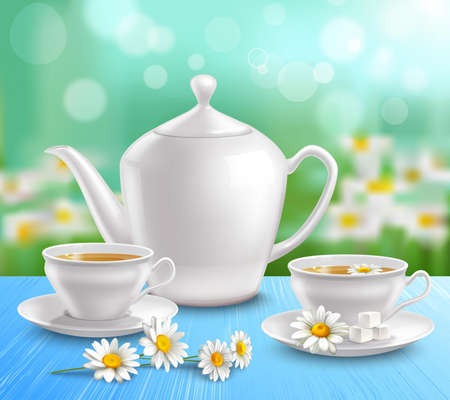 Teapot and cups composition with sugar on saucer and flowers of camomile on blue tablecloth vector illustration