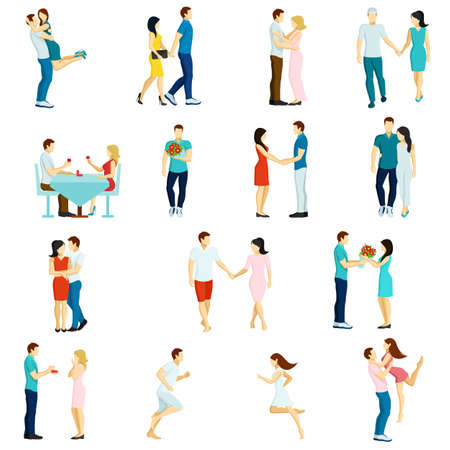 Isolated icon set with fall in love couples kissing walking dining together vector illustration