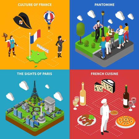 French culture cuisine and top sightseeings symbols for tourists isometric isons square composition abstract isolated vector illustration Vektorgrafik