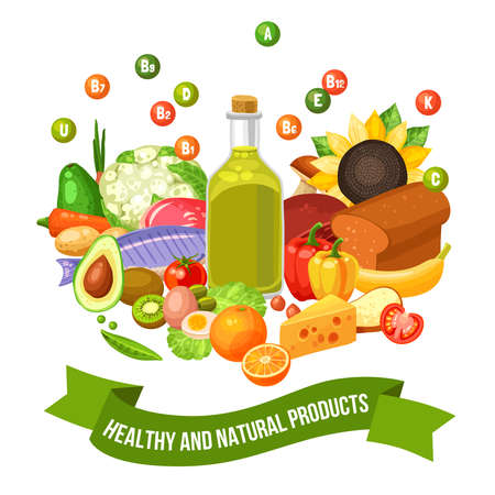 Flat poster of different healthy and natural organic food products with vitamin groups on top vector illustration