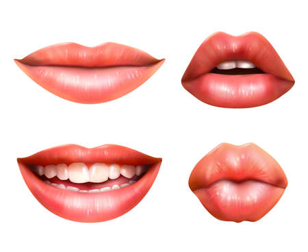 Mouth body language icons set with red lips closed turned up pursed and smiling realistic vector illustration