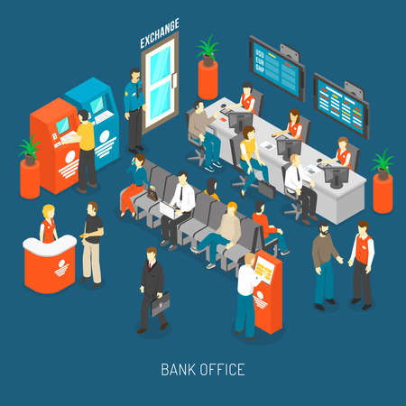 Bank Office Concept. Bank Office Interior. Bank Office Design. Bank Office Isometric Illustration. Bank Office Vector. Vector Illustratie