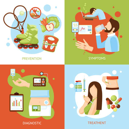 Diabetes medical symptoms diagnostic treatment and prevention concept 4 flat icons square poster abstract isolated vector illustration Vetores
