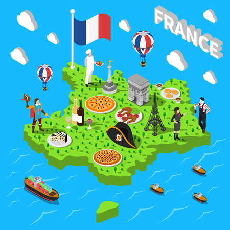 France isometric cultural sightseeing map for tourists with traditional national cuisine and landmarks symbols abstract vector illustration