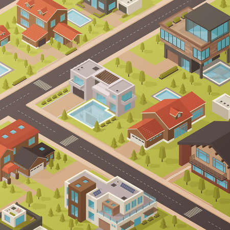 Colored isometric house background with roads and landscapes with houses and green trees urban style vector illustration