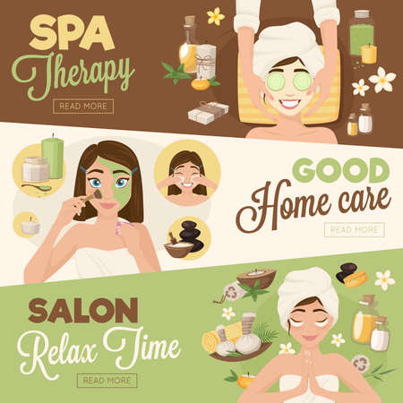Set of three woman morning routine banners with facial images girl characters and read more button vector illustration Vettoriali