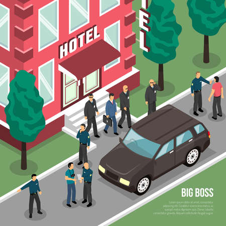 Big boss with security service going from house to black car in summertime isometric vector illustration