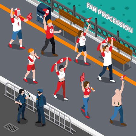 Isometric composition with police and street procession of excited sports fans with red white attributes vector illustration