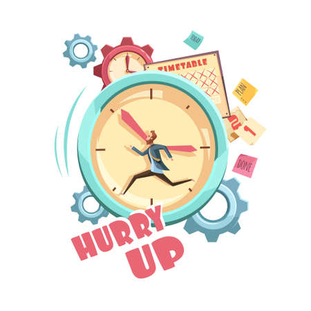 Time control retro cartoon design with running man on clock background schedule and grey gears vector illustration Vektoros illusztráció