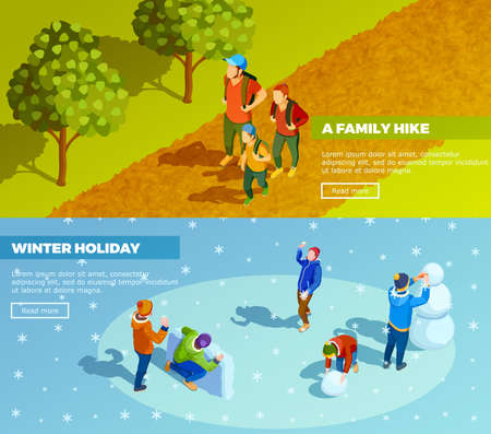 Family outdoor activities 2 isometric webpage banners with winter holidays and autumn hiking trip isolated vector illustration