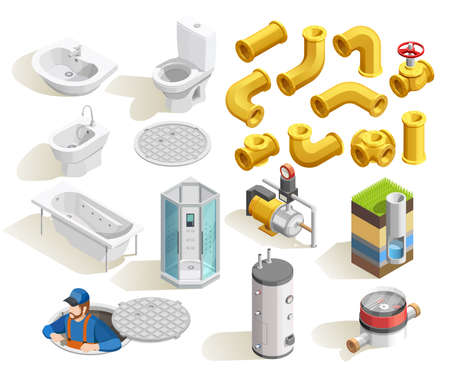 Colorful plumber isometric icons set with toilet bath shower sink heater and pipeline isolated on white background vector illustration Vecteurs