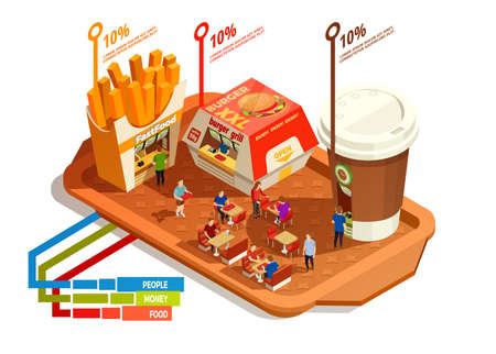 Food court infographic concept with burger fries coffee on tray isometric vector illustration Banque d'images - 165524941