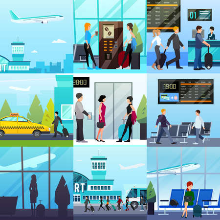 Nine transport square compositions set with flat people characters airport buildings taxi lounge and takeoff plane vector illustration
