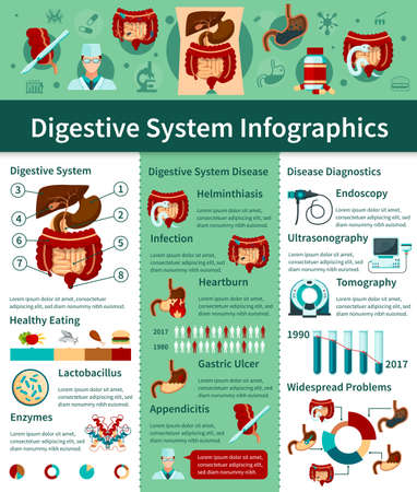 Colored digestive system flat infographics with different types of disease and diagnostics descriptions vector illustration