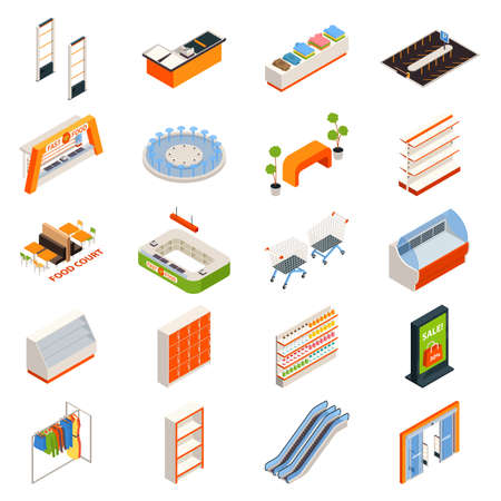 Shopping mall isometric elements isolated images of service cabinets supermarket trolley carts escalators counters and fountain vector illustration