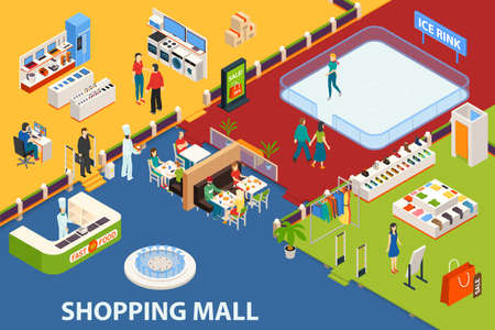Shopping mall background with isometric indoor shopping plaza restaurants fashion stores with furniture and people characters vector illustration