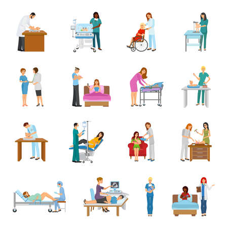Maternity hospital newborn baby nursery birth attendant and pregnant women human characters collection of isolated images vector illustration