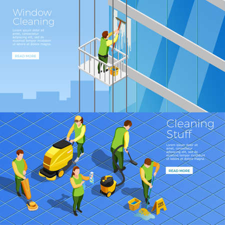Isometric horizontal banners with stuff of industrial alpinism company cleaning skyscraper windows and office cleaners with vacuum vector illustration