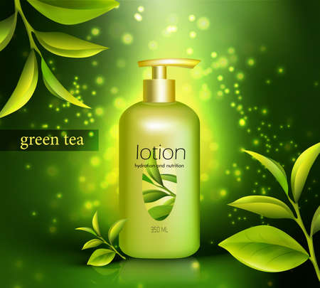 Lotion in plastic packaging with dispenser and green tea leaves on glowing dark background 3d vector illustration Vektoros illusztráció