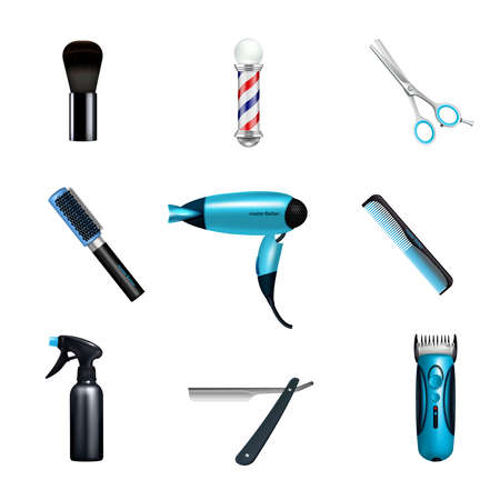 Colored and isolated barbershop icon set with hairdressers and hairstylists working tools vector illustration Vector Illustratie