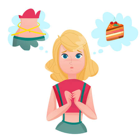 Young lady cartoon character dieting to loose weight dreaming of cake and slim figure temptation emotions vector illustrations Vector Illustratie