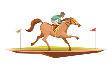 Horse riding retro design concept in cartoon style with jockey on galloping horse flat vector illustration Vetores