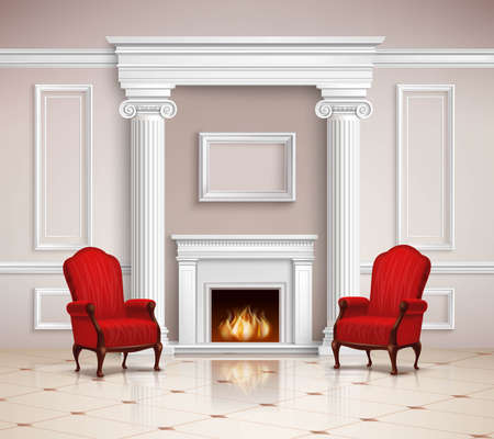 Realistic classic interior design with fireplace, moldings, columns and red armchairs on beige floor 3d vector illustration Vektorgrafik
