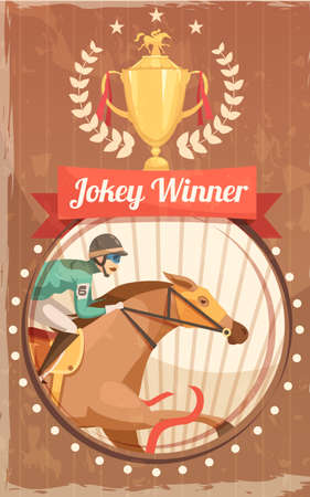 Jockey winner vintage poster with champion cup and rider on galloping horse design elements flat vector illustration Vetores