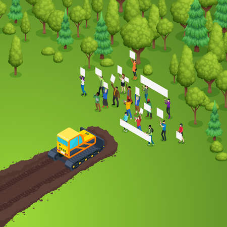 Green activist forest protection isometric composition with group of people holding placards in front of caterpillar tractor vector illustration