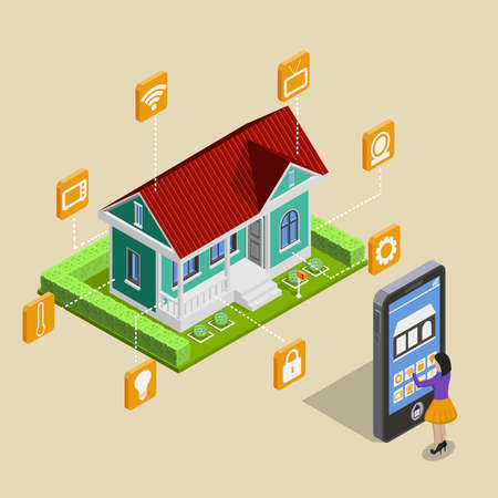 Smart house isometric images composition with cottage facility pictograms and tall smartphone directed by woman character vector illustration