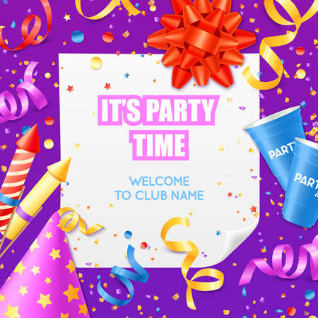Club party announcement invitation colorful poster card template with confetti and festive decorations on purple background vector illustration Vector Illustratie