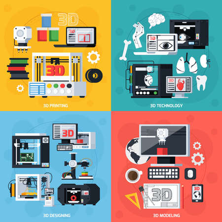 3D printing design concept with designing modeling equipment consumables and production symbols flat vector illustration 向量圖像