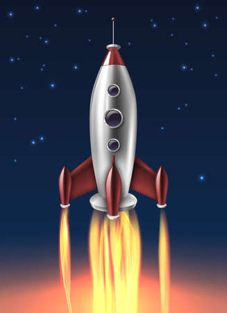 Metallic space rocket launch realistic retro poster with night blue and bright fiery bottom background vector illustration