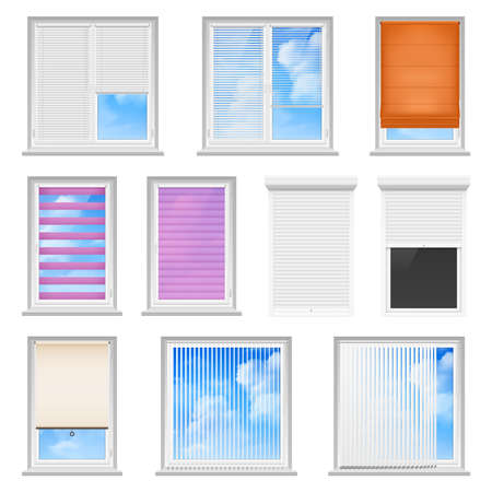 Window blinds colored flat set for office and creative home interior isolated on white background vector illustration