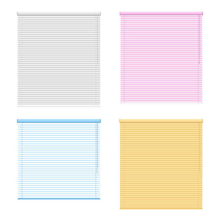 Four colored window roller shutters set isolated on white background in realistic style vector illustration Vector Illustratie