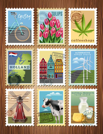 Dutch culture traditions colorful postage stamps set with windmill tulips amsteredam houses and cheese poster vector illustration