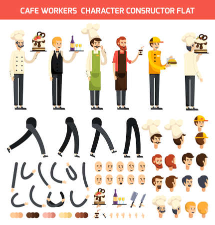 Colored and isolated cafe worker character constructor flat icon set with chef and waiter characters vector illustration