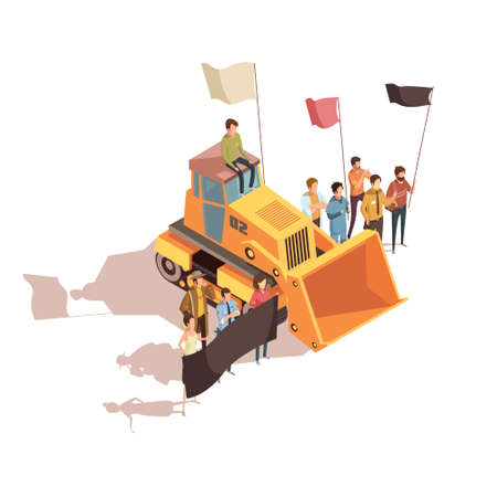 Isometric mining composition with group of human characters holding placards and protest flags near bulldozer vector illustration