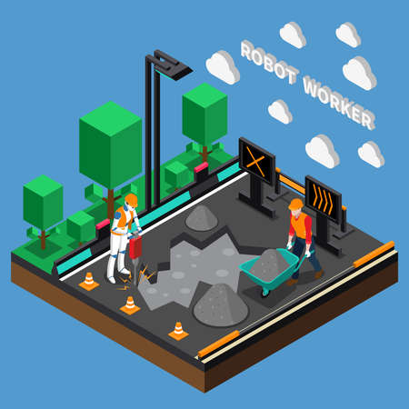 Robot worker professions 3d design concept with humanoids performing heavy physical work at construction object isometric vector illustration Ilustración de vector