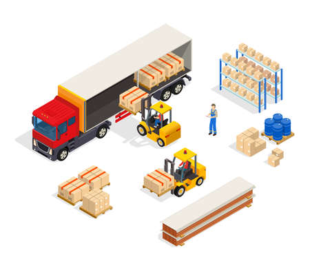 Warehouse truck isometric composition with manipulator carts loading boxes into lorry with freight handler human characters vector illustration Vektorové ilustrace