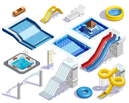 Water park set people isometric images of aquatic facilities tubes pools and waterslides on blank background vector illustration