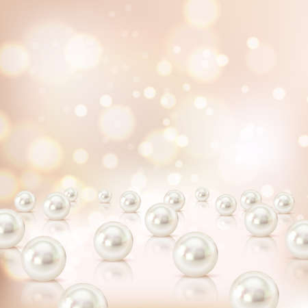 Pearl background with realistic images of cockle shells with blurry particles shadows and abstract elements vector illustration Vektoros illusztráció