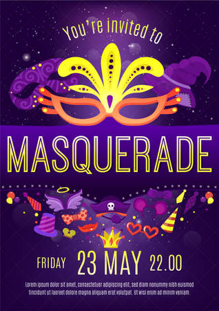 Masquerade night celebration festivities dark purple background invitation poster with golden letters and face masks vector illustration