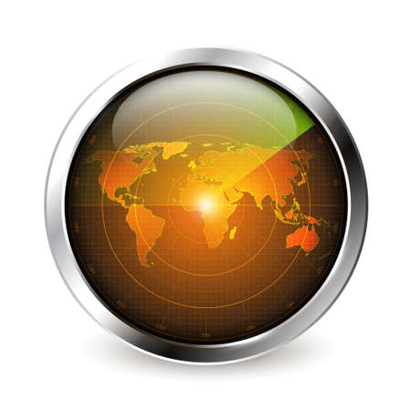 Realistic surveillance radar icon with metal frame round glossy surface and world map with luminous reflection vector illustration