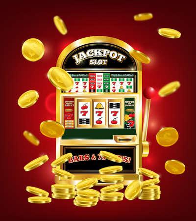 Slot machine poster with jackpot on game line, gold dollar coins on red background 3d vector illustration Векторная Иллюстрация