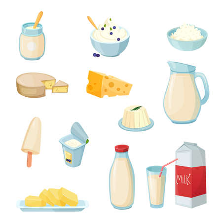 Dairy products set with milk in various packaging cheese yogurt butter curd sour cream isolated vector illustration