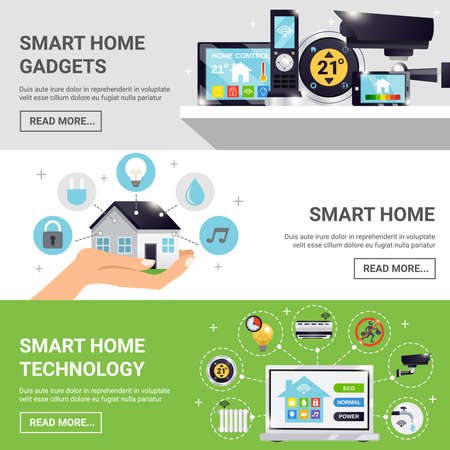 Three horizontal smart home horizontal banner set with smart home gadgets technology and read more buttons vector illustration Vektoros illusztráció