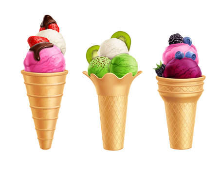 Realistic set of ice cream with fruits including strawberry, kiwi, blueberry in waffle cones isolated vector illustration Векторная Иллюстрация