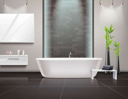 Realistic bathroom interior with mirror and lighting, stand with towels near tub on tiled floor vector illustration